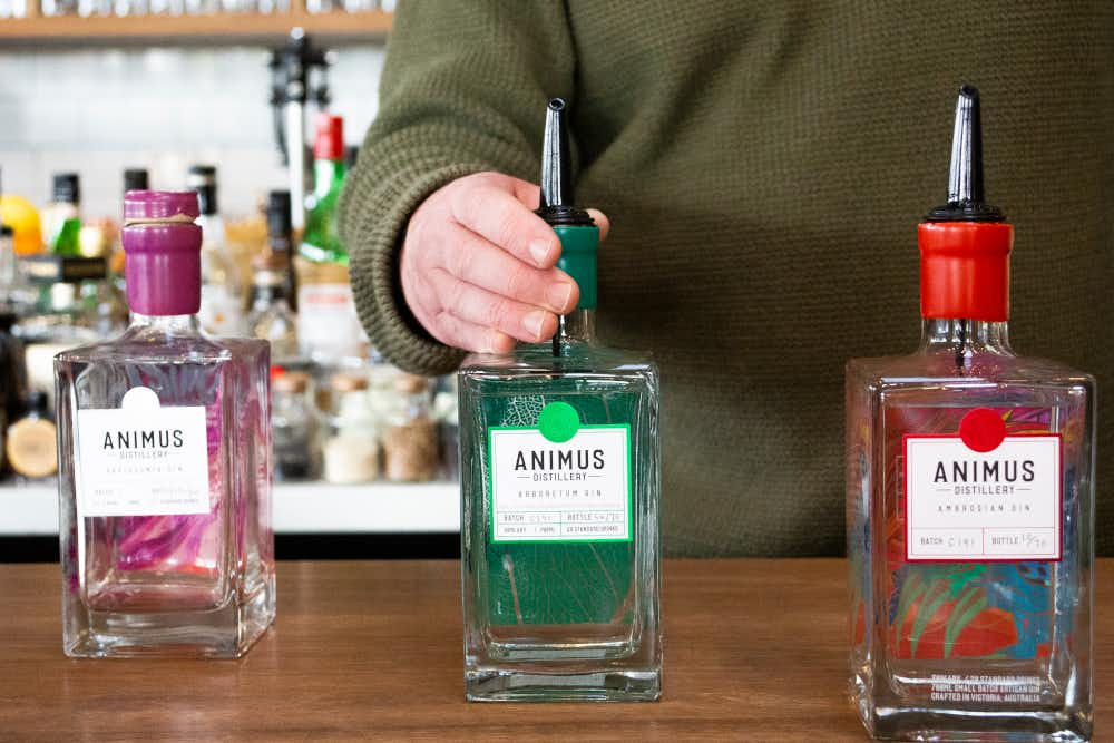 Gin selections at Animus Distillery in Kyneton