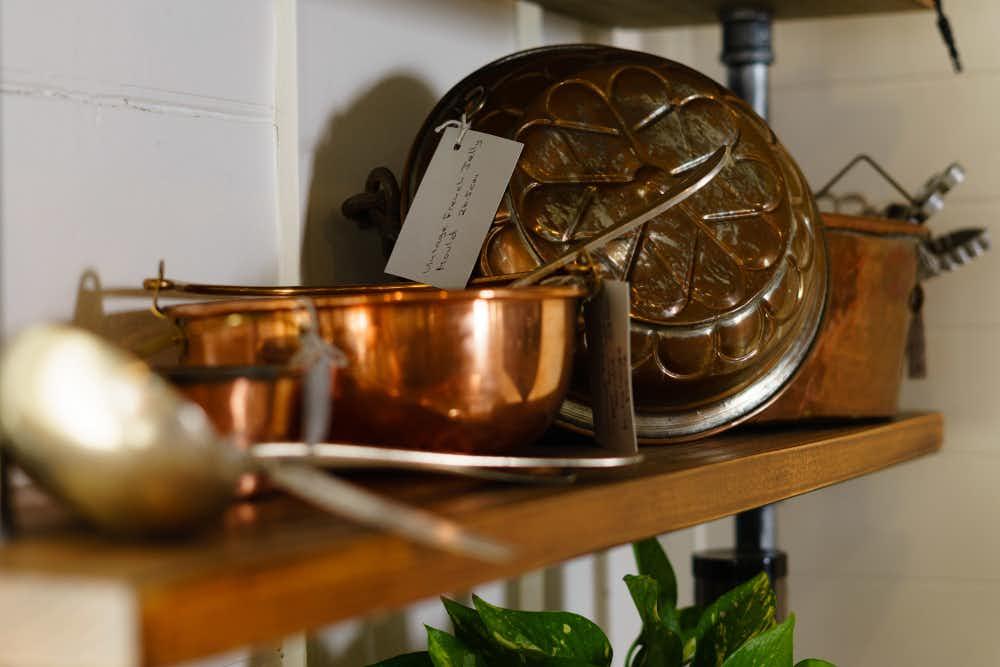 Cake moulds on shelf, Atelier Chocolat, Trentham