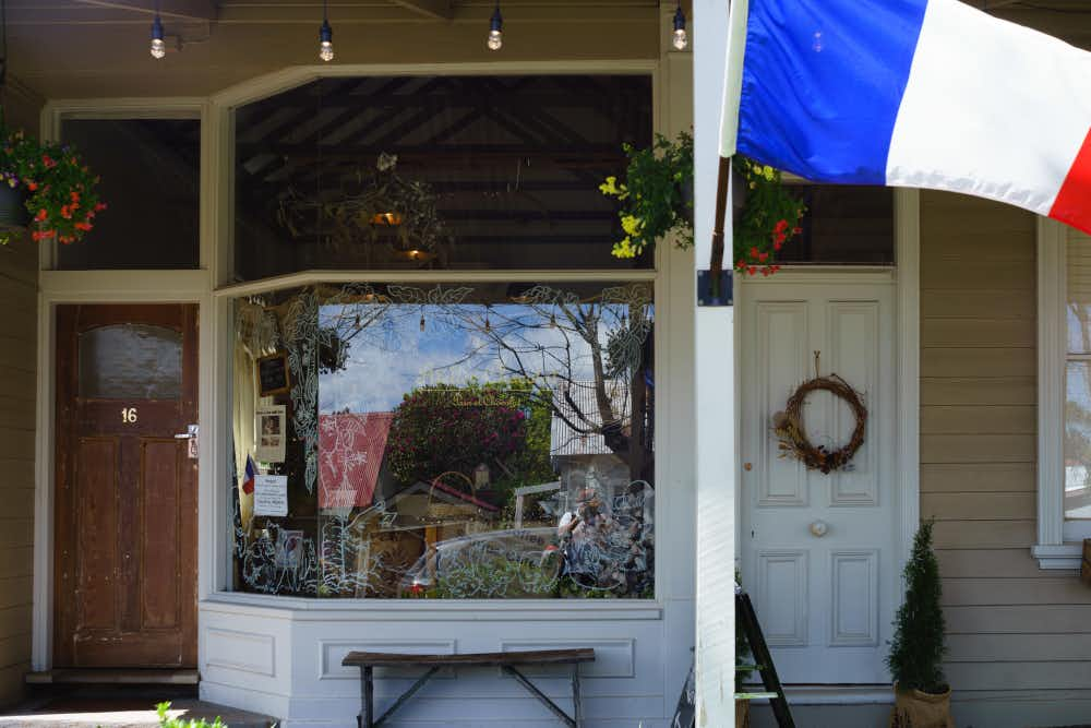 Exterior and French Flag, Atelier Chocolat, Trentham