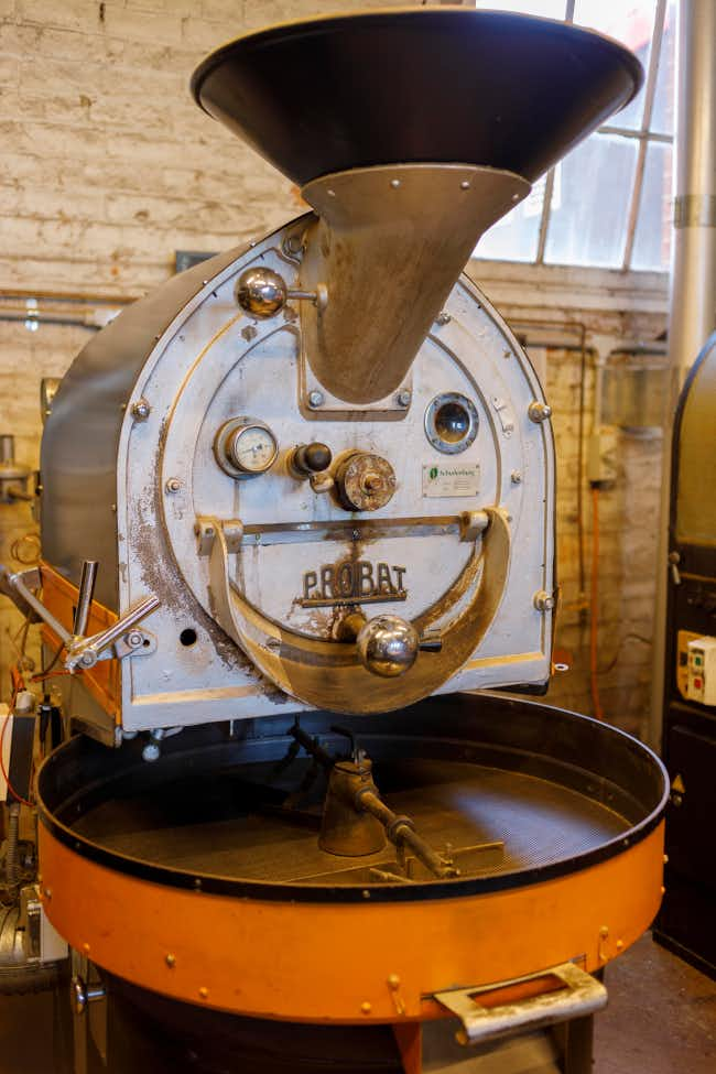 Coffee grinder at Coffee Basics in Castlemaine