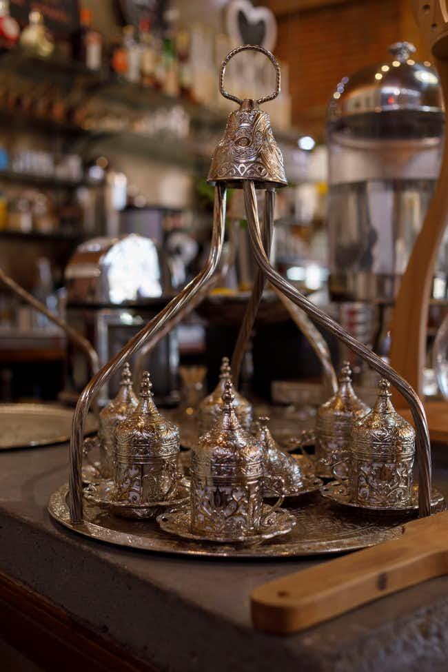 Ornate silverware at Das Kaffeehaus in Castlemaine