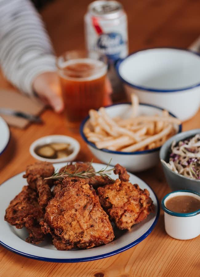 Succulent fried chicken and chips at Donkey restaurant, Kyneton.