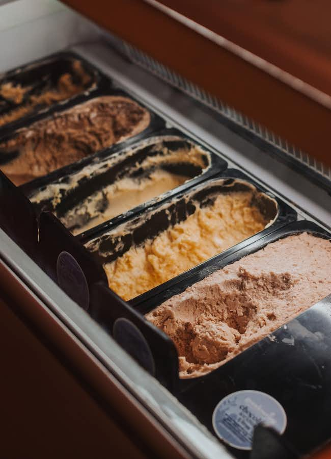 Selection of delicious ice cream flavours at Donkey restaurant, Kyneton.